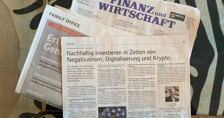 """Interview mit unseren CEO Steffen Bauke im Family Office Special der """"Finanz und Wirtschaft"""""""